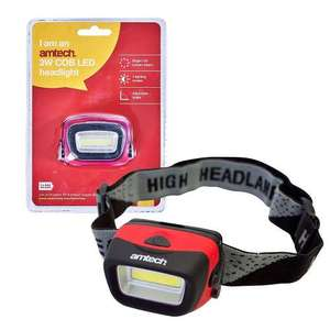 Amtech 3W COB LED Head Torch with 3 Modes for Hobby, Sports, Fishing, Worklight etc - £3.99 Delivered @ 7DayShop