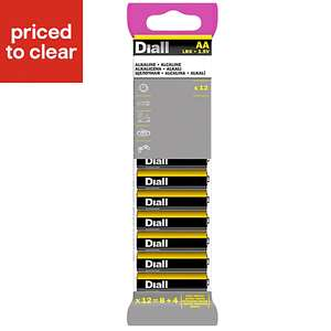 Diall AA or AAA 12 pack of batteries £1 with free collection @ B&Q