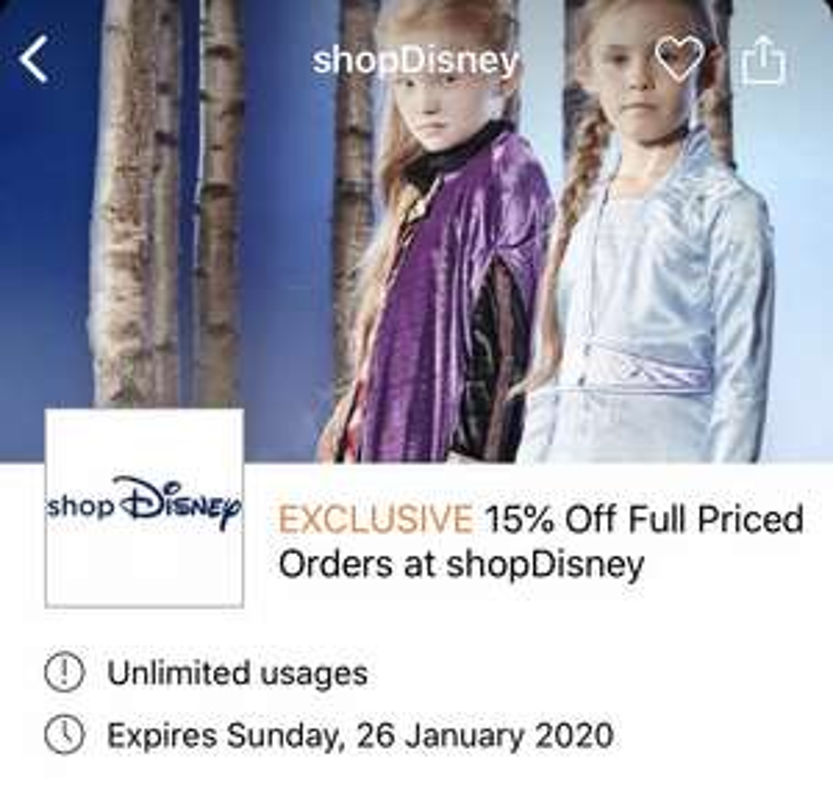 15% off Full Priced Items on ShopDisney UK