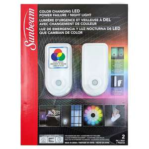 Sunbeam LED night light - twin pack of colour changing night lights £5.97 COSTCO