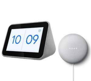 LENOVO Smart Clock with Google Assistant & Google Nest Mini (2nd Gen) Bundle £49.99 @ Currys