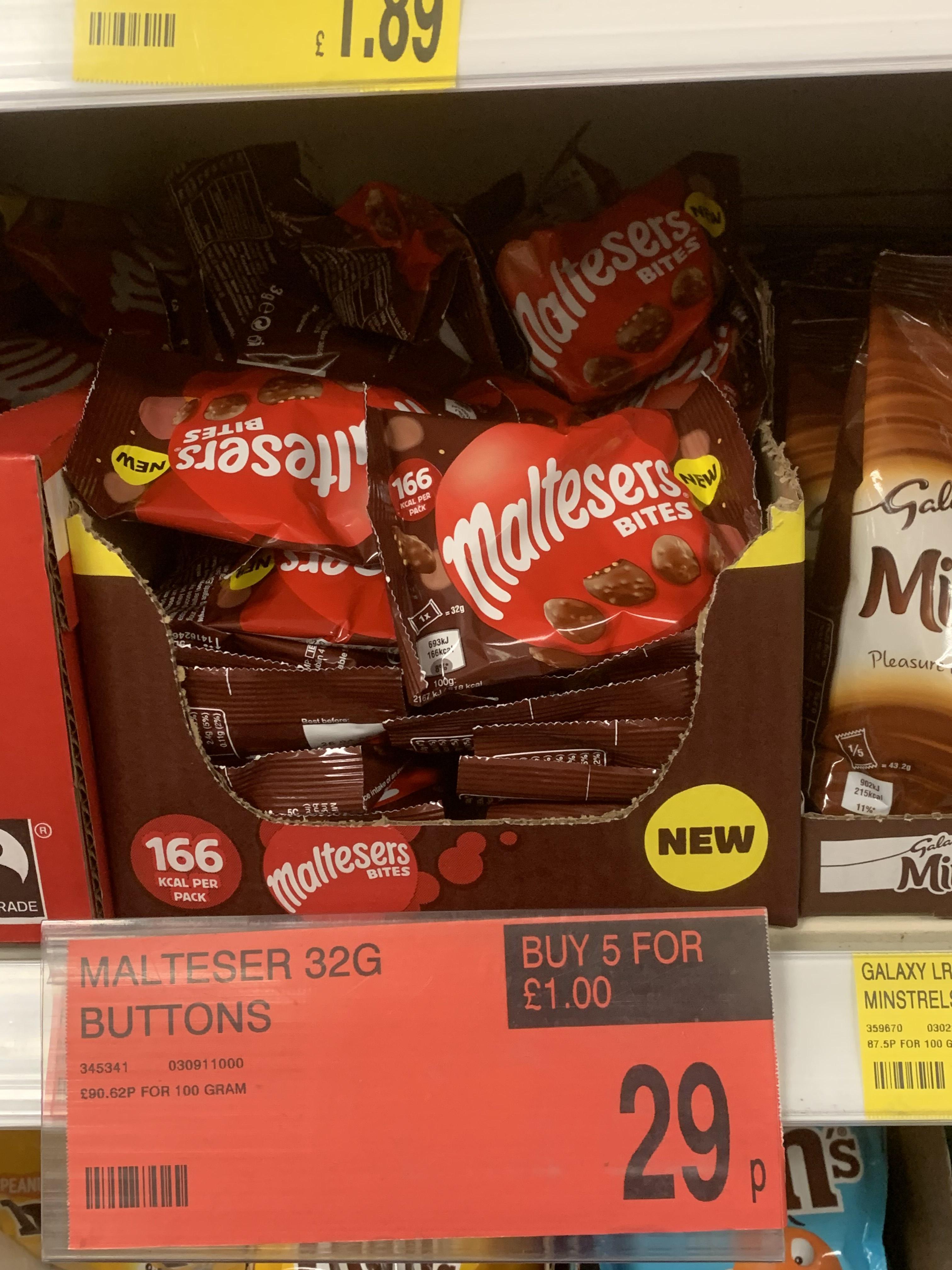 Maltesers button / bite bags 32g 5 for £1 @ B & M Bargains Sheffield