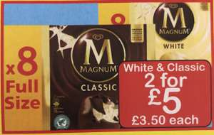 Magnum Classic or White x 8 - 2 for £5 Farmfoods