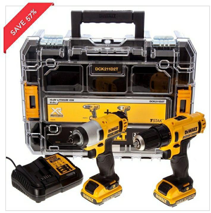 DeWalt DCK211D2T-GB Combo Kit With Drill Driver, Impact Driver 2 x 2.0Ah Batteries, Multi-Voltage Charger & Lid TSTAK £119.99 @ Toolsense