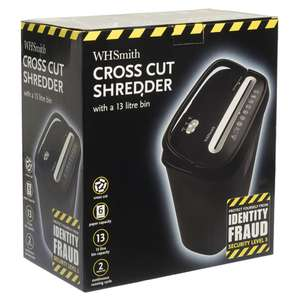WHSmith Black 13 Litre Cross Cut Shredder 6 Sheet Capacity £19.99 @ WHSmith (Free C&C)