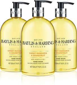 Baylis & Harding Sweet Mandarin and Grapefruit Hand Wash, 500 ml, Pack of 3 £3.99 at Amazon Prime / £8.48 Non Prime