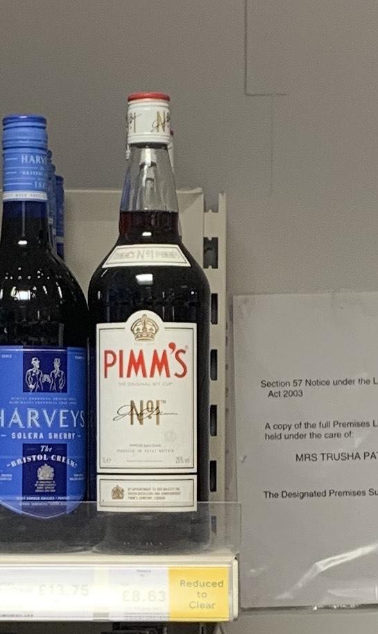 Pimms 1L £8.63 at Tesco London