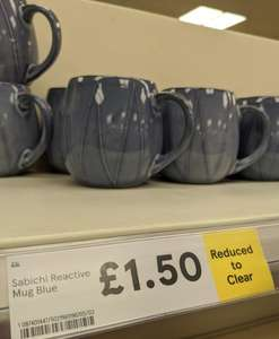 Sabichi reactive mug blue or grey £1.50 instore @ Tesco Stratford-upon-Avon