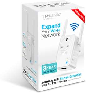 TP-Link TL-WA860RE N300 Universal Range Extender with Extra Power Outlet now £16.49 (Prime) + £4.49 (non Prime) at Amazon