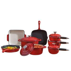Robert Dyas - Cooks Professional Deluxe 8-Piece Cast Iron Cookware Set - Cream/Blue/Red - £139.49 with code - Free C&C