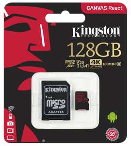 Kingston 128GB Canvas React Micro SD Card (SDXC) UHS-I/A1/U3/V30-100MB/s read & 80MB/s write + Adapter for £14.95 Delivered @ Mymemory