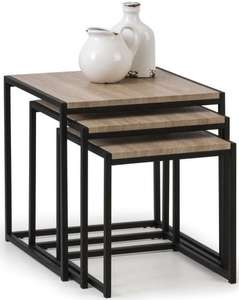 Julian Bowen Tribeca Sonoma Oak and Black Metal Nest of Table £45.90 @ Choicefurnituresuperstore