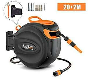 TACKLIFE Auto Hose Reel 20+2m, Wall-Mounted Hose Reel with Wall Bracket and Spray Nozzle, Any Length Lock and Easy Rewind £29.99 @amazon