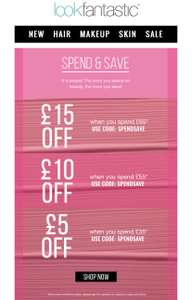LookFantastic offer for today - £5 off £35, £10 off £55 , £15 off £65