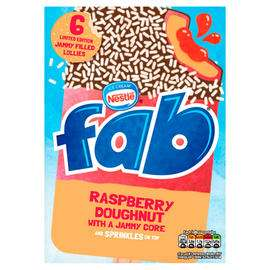 Fab Raspberry Doughnut Lollies 6 x 58ml Buy 2 pack for £1.00 @ FarmFoods