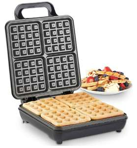 VonShef Waffle Maker, Large Quad Belgian Waffle Easy Clean Non-Stick Coated Plates & Automatic Temperature Control,1100W - £19.79 @ Vonhaus