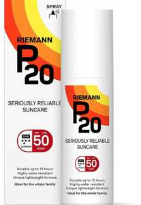 Rieman P20 SPF50 200ml spray & SPF30 continuous spray £11.96 each inc VAT at Costco Glasgow