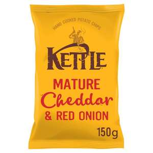 Kettle Chips Mature Cheddar & Red Onion 150G, half price 99p Tesco