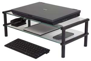 Kit Glass Desktop Table Double Shelf Stand Designed for Monitors, TVs & Laptops £12.99 @ Laptop Outlet