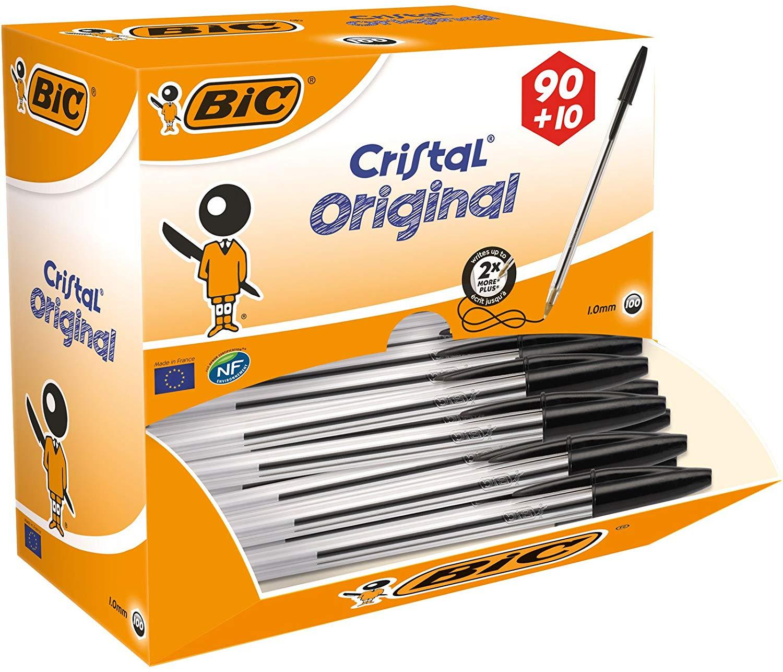 Box of 100 BIC Cristal Original Ballpoint Pens Black for £13.03 (£12.38 With S&S) Prime/ +£4.49 Non Prime @ Amazon UK