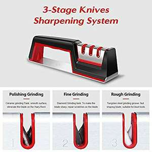 Kitchen Knife Sharpener, Knife Sharpening Tool with Anti Slip Base - Fulfilled by Amazon