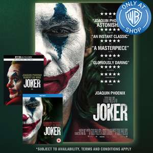 Pre-Order Joker + Free Poster - DVD £8.99 / Blu-ray £13.49 / 4K + Blu-ray £22.49 Using First Order Code @ Warner Bros