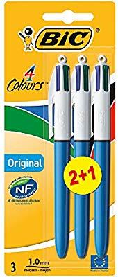 BIC 4 Colours Original Ballpoint Pens Medium Point (1.0 Mm) - Pack of 2+1 £2.99 @ Amazon Prime (£2.61 with S&S) / £7.73 Non Prime