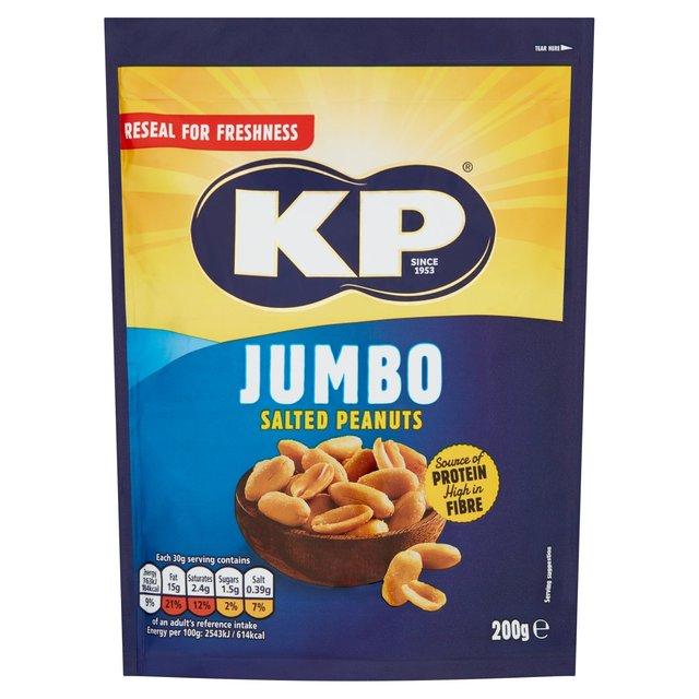 KP Jumbo Salted Peanuts - Resealable 200g bag 79p - Heron Stores