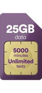 Virgn Mobile sim only deal 25GB, 5000 Minutes,Unlimted text - £15pm x 12 months = £180