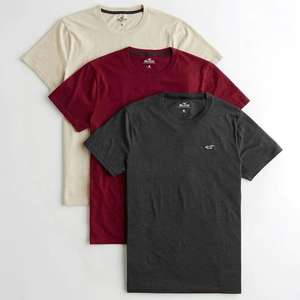 Hollister Must-Have Crewneck T-Shirt 3-Pack - £9.86 / £14.86 delivered @ Hollister (possible free delivery via app)