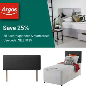 Save 25% on Silentnight beds and mattresses with code at Argos