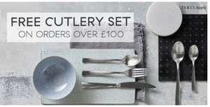 Free Cutlery Set on orders over £100 @ Denby Pottery