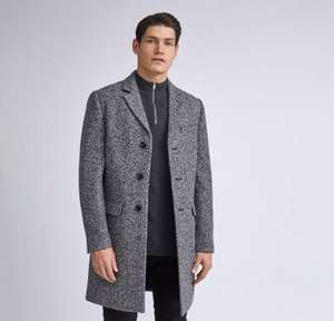Burton - Grey Grindle Texture Faux Wool Overcoat - £39 @ Debenhams - Free Click & Collect (With Code)