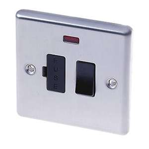 LAP 13a switched fused connection unit with LED indicator - brushed stainless steel, £1 at B&Q , silverlink, Wallsend.