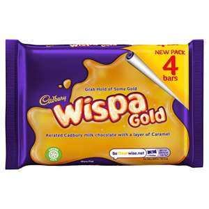 Cadbury's Wispa Gold 4 Pack Caramel bubbly chocolate bars £1 Morrisons in store and online