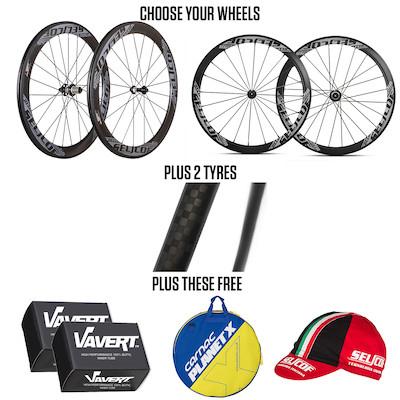Selcof Wheel Bundle, 40/56mm Carbon Wheels, Tyres, Tubes, Wheel Bag & Free Hat £469.98 Planet X
