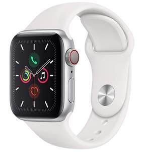 Apple Watch Series 5 (GPS + Cellular, 40mm) - Silver Aluminium Case with White Sport Band £379 @ Amazon