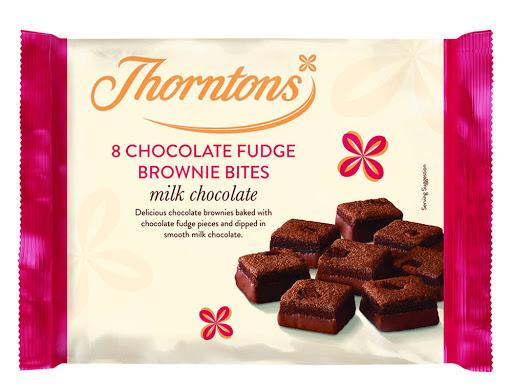 Thorntons 8 Chocolate Fudge Brownie Bites, Milk Chocolate or 8 Caramel and Shortcake Bites - 69p at Heron Foods, Abbey Hulton