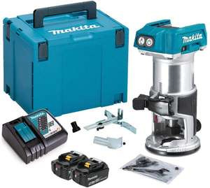 "Makita DRT50ZJ 18V 1/4"" Laminate Router Trimmer 2 x 5.0Ah Battery BL1850 + DC18RC Charger & Case for £136.90 delivered @ Amazon"