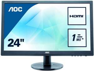 "AOC E2460SH 24"" LED FHD (1920x1080) 1ms monitor with Built-in speakers. (VGA, DVI, HDMI) - Black £74.99 @ Amazon"