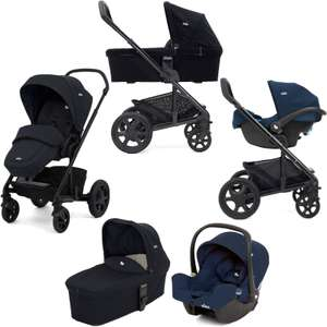 Joie Chrome DLX (i-Snug) Travel System With Carrycot (inc Carseat Footmuff & Raincover) - Navy Blazer £324.95 Free Delivery from Online4baby