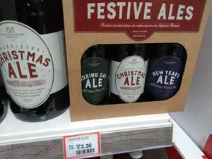 Pack of three Christmas ales for £3.30 at Dobbies garden centre, Gosforth