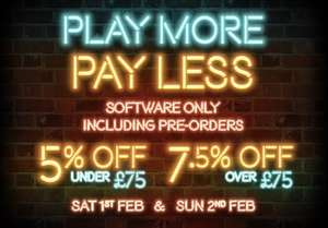 Play more, pay less offer [5% off under £75 / 7.5% off over £75] @ The Game Collection