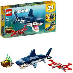 LEGO 31088 Creator 3in1 Deep Sea Creatures Shark, Crab and Squid or Angler Fish Building Set £7.98 (Prime) £12.47 (Non-Prime) @ Amazon