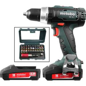 Metabo SB18L 18V Li-Ion Cordless Combi Drill & 32 Piece Bit Set 2 x 2.0Ah £89.98 @ Toolstation