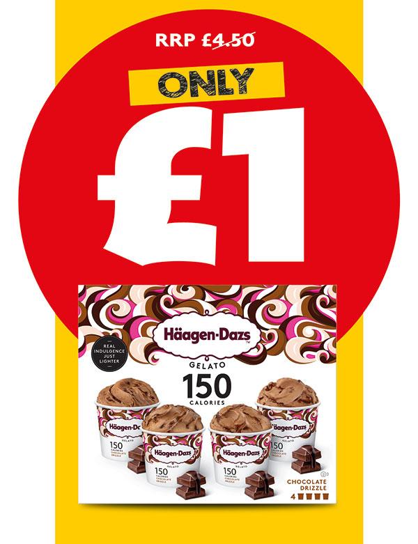 Heron have some great deals for £1 e.g Haagen-Dazs Chocolate Drizzle Gelato 4x95ml Carte DOr Sea Salted Caramel/ Raspberry Cheesecake 430ml