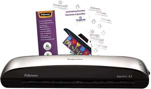 Fellowes Spectra A3 Home Office Laminator, 80-125 Micron, Including 10 Free Pouches now £34.95 delivered at Amazon