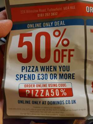 50% off pizza with £30 spend @ Dominos Pizza