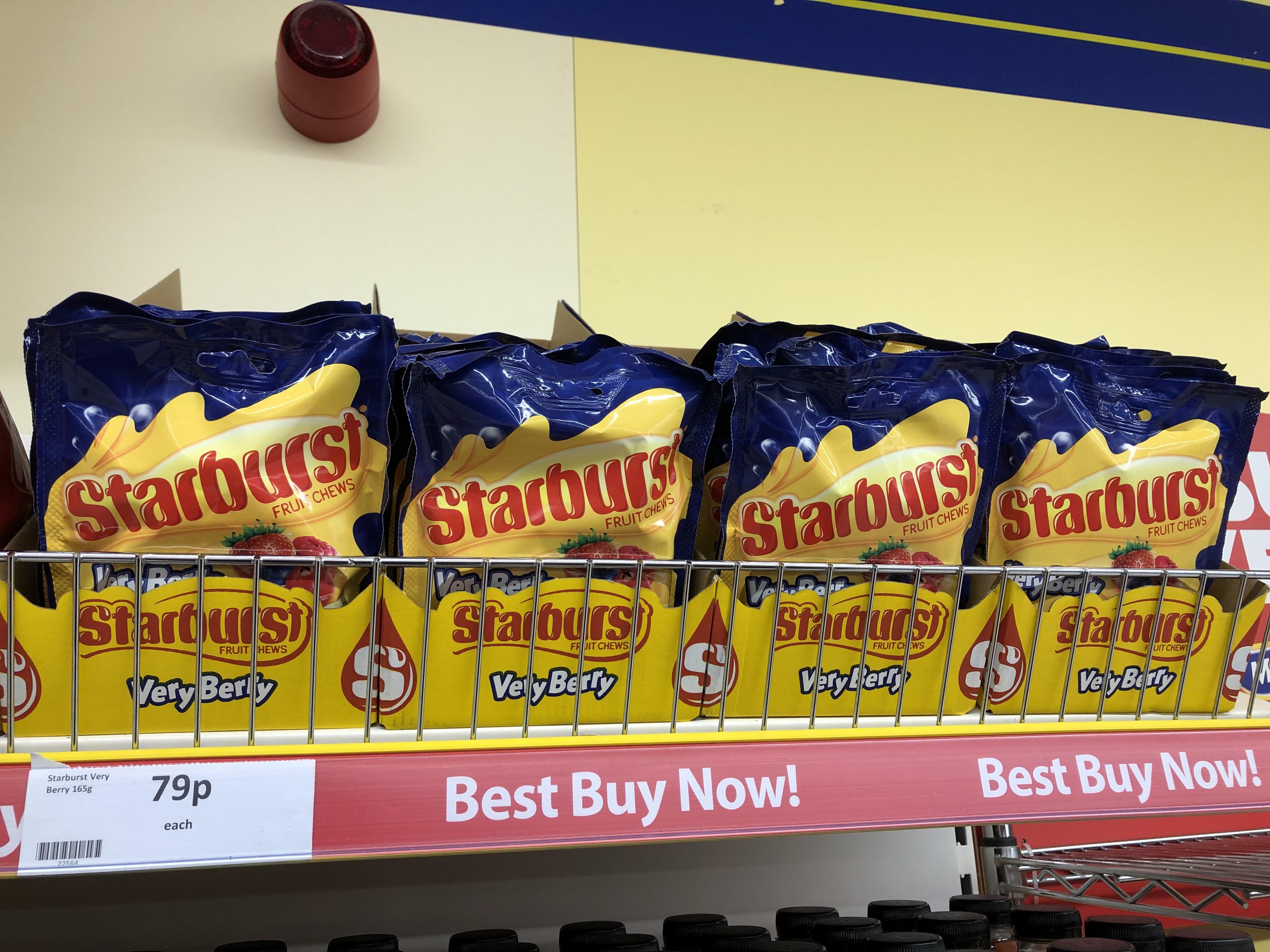Starburst Very Berry 165g for 79p at Heron Foods Stretford