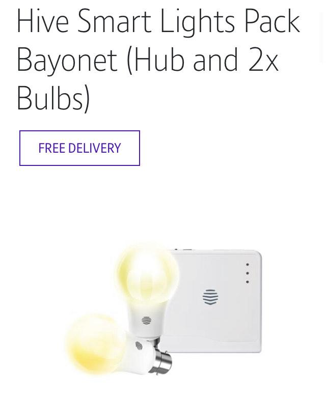 Hive Smart Lights Pack Bayonet (Hub and 2x Bulbs) £54 @ BT shop